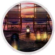 Round Beach Towel featuring the photograph Night Lights At Sunset by Debra and Dave Vanderlaan
