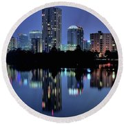Night Lights Austin Texas 2016 Round Beach Towel by Frozen in Time Fine Art Photography