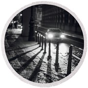 Round Beach Towel featuring the photograph Night Lights. Prague by Jenny Rainbow