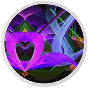 Night Lights Round Beach Towel
