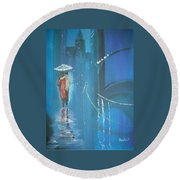 Round Beach Towel featuring the painting Night Love Walk by Raymond Doward