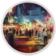 Round Beach Towel featuring the painting Night Market by Tithi Luadthong