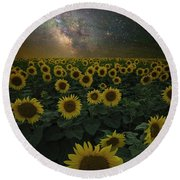 Round Beach Towel featuring the photograph Night Of A Billion Suns by Aaron J Groen
