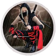 Night Of The Ninja Round Beach Towel
