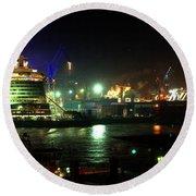 Night On Hamburg Docks Round Beach Towel