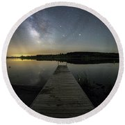 Round Beach Towel featuring the photograph Night On The Dock by Aaron J Groen
