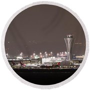Round Beach Towel featuring the photograph Night Operations by Alex Lapidus