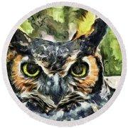 Night Owl Round Beach Towel by Trish Tritz