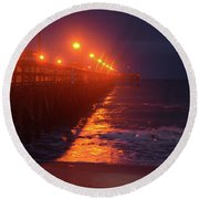 Night Pier Round Beach Towel