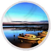 Night Port Painting Round Beach Towel
