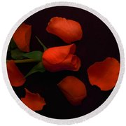 Night Rose 2 Round Beach Towel