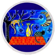 Night Shift - Cat Art By Dora Hathazi Mendes Round Beach Towel by Dora Hathazi Mendes