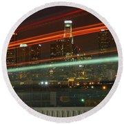 Night Shot Of Downtown Los Angeles Skyline From 6th St. Bridge Round Beach Towel