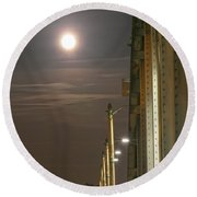 Night Shot Of The Los Angeles 6th Street Bridge And Supermoon #3 Round Beach Towel