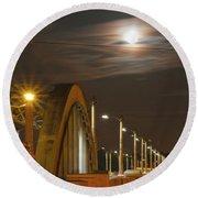 Night Shot Of The Los Angeles 6th Street Bridge And Supermoon #4 Round Beach Towel
