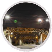 Night Shot Of The Los Angeles 6th Street Bridge And Supermoon #5 Round Beach Towel