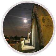 Night Shot Of The Los Angeles 6th Street Bridge And Supermoon #6 Round Beach Towel
