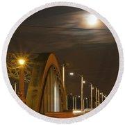 Night Shot Of The Los Angeles 6th Street Bridge And Supermoon #7 Round Beach Towel