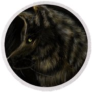 Round Beach Towel featuring the digital art Night Silent Wolf by Darren Cannell