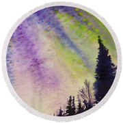 Round Beach Towel featuring the painting Night Sky by Allison Ashton