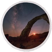 Night Sky At Corona Ach Round Beach Towel