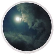Looking At The Moon Round Beach Towel