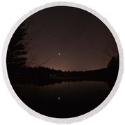 Night Sky Over The Pond Round Beach Towel