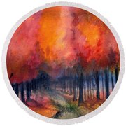Round Beach Towel featuring the painting Night Time Among The Maples by Laurie Rohner