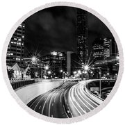 Night Time In The City  Round Beach Towel