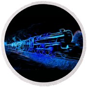Round Beach Towel featuring the photograph Night Train To Romance by Aaron Berg