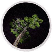 Round Beach Towel featuring the photograph Night Tree by T Brian Jones