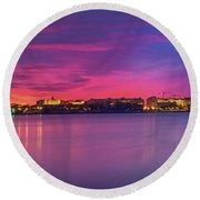 Round Beach Towel featuring the photograph Night Unto Day by Edward Kreis