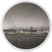 Night View Ocean City Downtown Skyline Round Beach Towel
