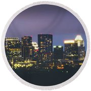 Night View Of Downtown Skyline In Winter Round Beach Towel