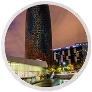 Night View Of Torre Agbar Round Beach Towel