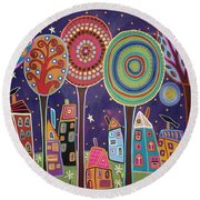 Night Village Round Beach Towel