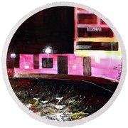 Round Beach Towel featuring the painting Night Walk by Anil Nene