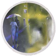 Round Beach Towel featuring the painting Night Walk In The Rain by Raymond Doward