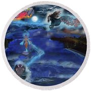 Night Walk Round Beach Towel