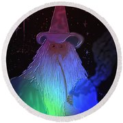 Night Wizard Round Beach Towel by Kevin Caudill