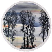Round Beach Towel featuring the painting Nightfall Approaching by Marilyn  McNish