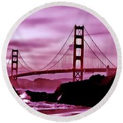 Nightfall At The Golden Gate Round Beach Towel