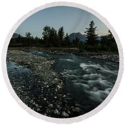 Round Beach Towel featuring the photograph Nightfall In Montana by Margaret Pitcher