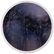 Nightfall In The Woods Round Beach Towel by Sandy Moulder