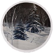 Night Time Snowy Woods Round Beach Towel by Joy Nichols
