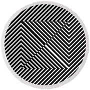 Nightlife Illusions Round Beach Towel