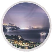 Nights In The Harbor Round Beach Towel