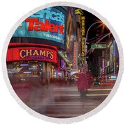 Nights On Broadway Round Beach Towel by Az Jackson