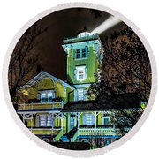 Round Beach Towel featuring the photograph Nighttime Fog At Hereford Inlet by Nick Zelinsky