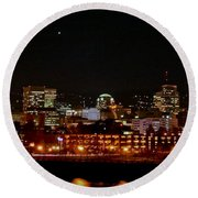 Nighttime In Pdx Round Beach Towel